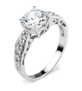 10k Gold Round CZ Solitaire Engagement Ring