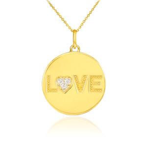 "14K Gold ""LOVE"" Script Diamond Disc Pendant Necklace"