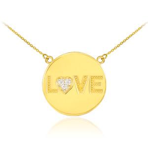 "14K Gold ""LOVE"" Script Diamond Disc Necklace"