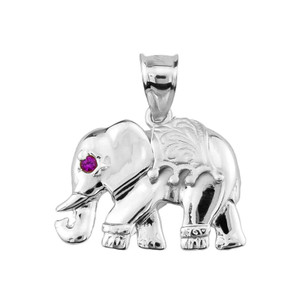 10k White Gold Elephant Pendant
