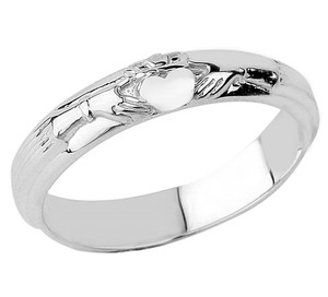 Silver Claddagh Wedding ring.