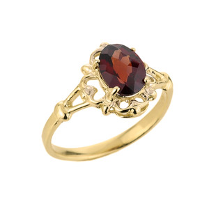 10k Gold Ladies Oval Shaped Garnet Gemstone Ring