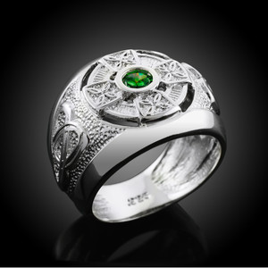 Sterling Silver Celtic Mens Birthstone Ring