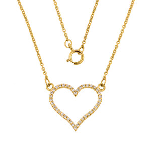 14K Gold Diamonds Studded Open Heart Necklace