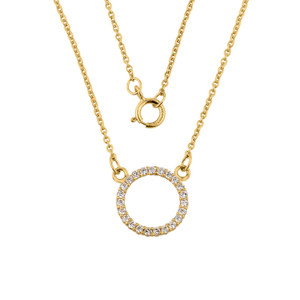 "14k Gold ""Circle of Love"" Cubic Zirconia Necklace"