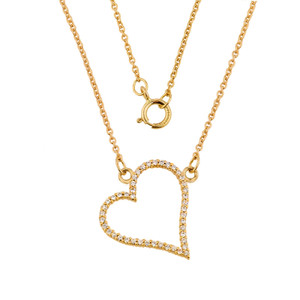 14K Gold Cubic Zirconia Heart Necklace