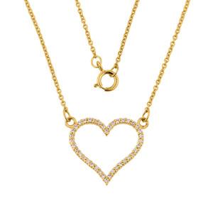 14K Gold Cubic Zirconia Open Heart Necklace