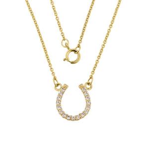 14K Gold Cubic Zirconia Horseshoe Necklace