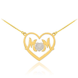 """14K Gold Diamond Pave Heart """"MOM"""" Necklace"""