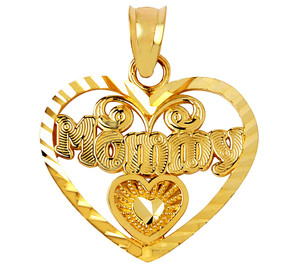Gold Mommy Heart Pendant