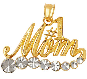 #1 Mom Gold Pendant with White Sparkle Gold
