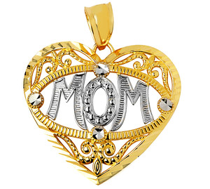 Gold Heart Mom Charm