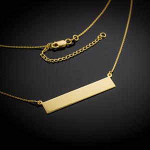 14k Gold Engravable Name Bar Necklace