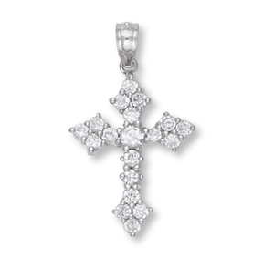 White Gold Cross Pendant 1