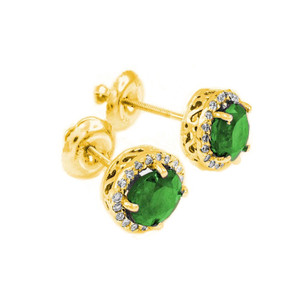 14k Gold Diamond Emerald Earrings