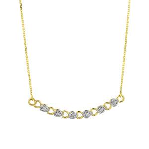 14k Gold Curved Diamond Hearts Necklace
