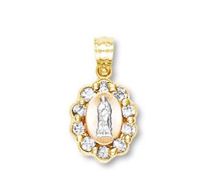 Tri Color Gold  Guadalupe Pendant