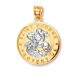 Two-Tone Gold Saint George Coin Pendant