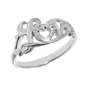 """Love"" Script White Gold Diamond Ring"