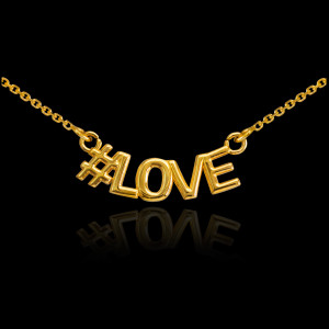 14k Gold #LOVE Necklace