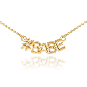 14k Gold #BABE Necklace