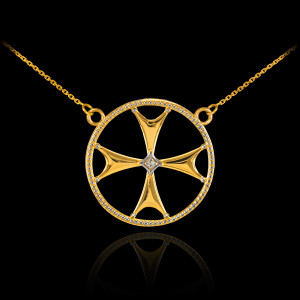 14k Gold Diamond Maltese Cross Necklace