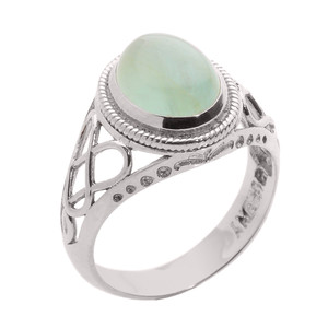 10k White Gold Celtic Trinity Knot Aquamarine Ring