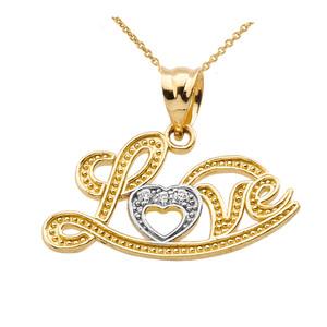 """Love"" Script Yellow Gold Diamond Pendant Necklace"