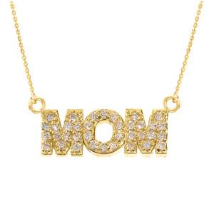 "14 Yellow Gold ""MOM"" Diamond Pendant Necklace"