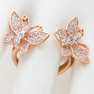 10k Rose Gold Cubic Zirconia Double Butterfly Ladies Ring