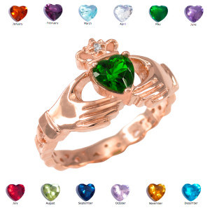 Rose Gold Claddagh Diamond Crown Birthstone CZ Ring
