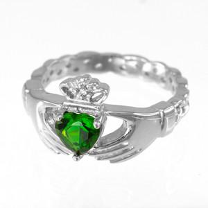 Sterling Silver Claddagh Birthstone CZ Ring