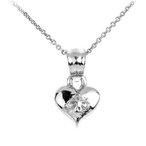 Sterling Silver Baby Heart Charm Pendant Necklace
