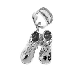 Solid White Gold Baby Boy Shoes Charm Pendant