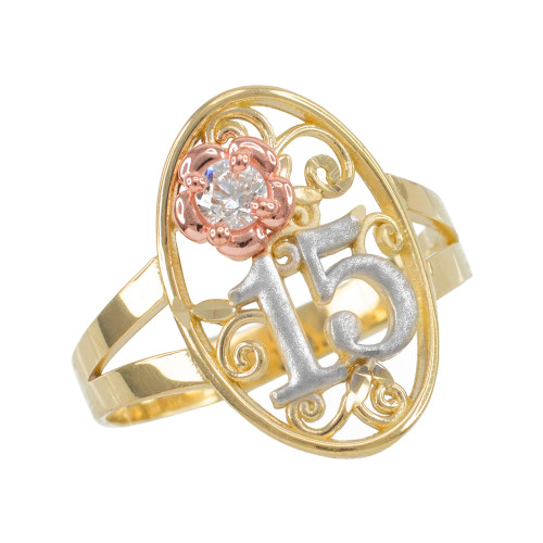tri tone gold quinceanera 15 anos cz oval ring
