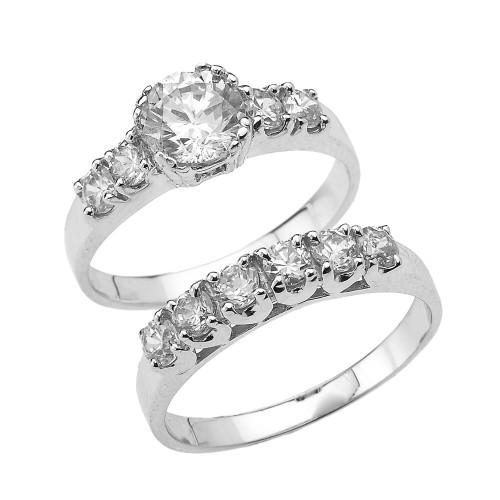 Cubic Zirconia Set Bands: White Gold Round Cubic Zirconia Engagement Wedding Ring Set