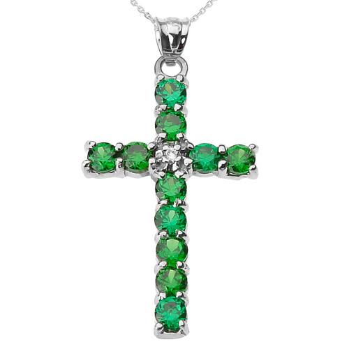 10k White Gold Diamond and Green CZ Cross Pendant Necklace