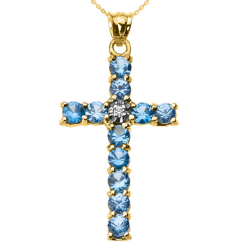10k Yellow Gold Diamond and Light Blue CZ Cross Pendant Necklace