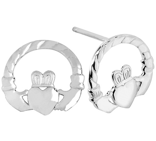 White Gold Classic Claddagh Earring