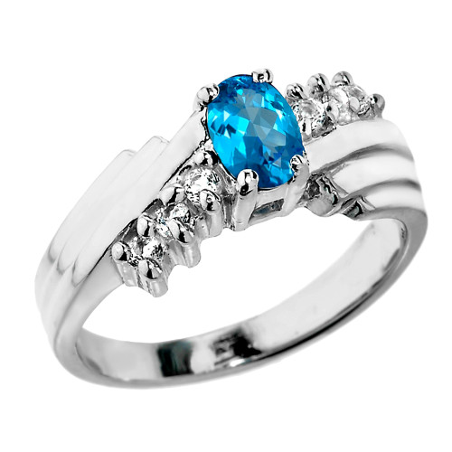 Sterling Silver White Topaz and Blue Topaz Ladies Ring