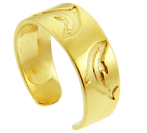 Dolphin Yellow Gold Toe Ring