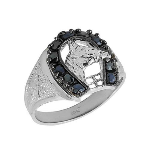 10k Solid White Gold Men's Black Onyx Horseshoe Ring
