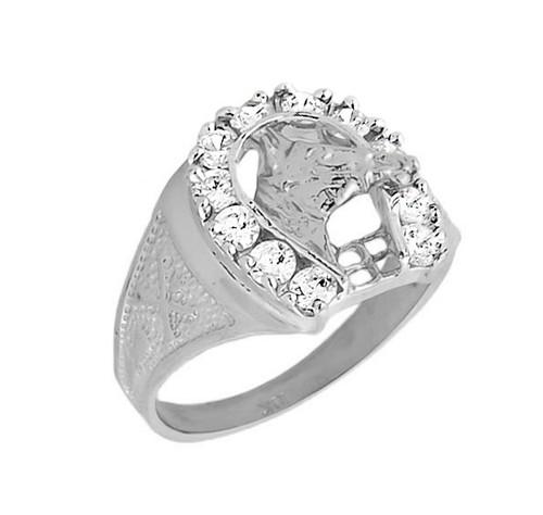 10k White Gold Men's White Topaz Horseshoe Ring