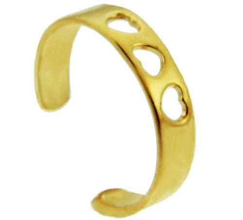Three Hearts Yellow Gold Toe Ring