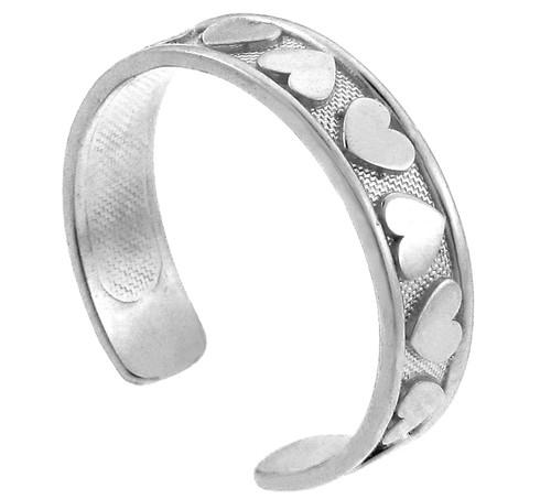 Hearts Silver Toe Ring