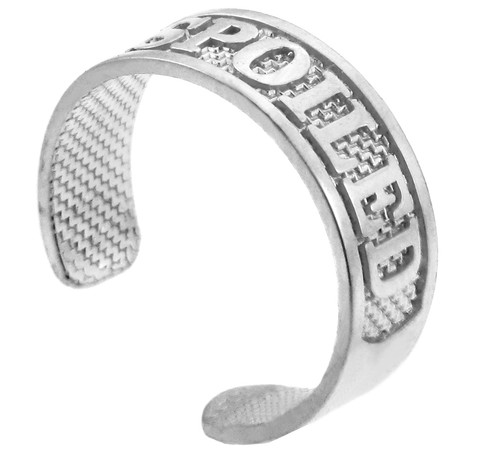 "SPOILED"" White Gold Toe Ring"