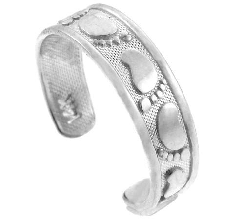 Classy Footprint Silver Toe Ring