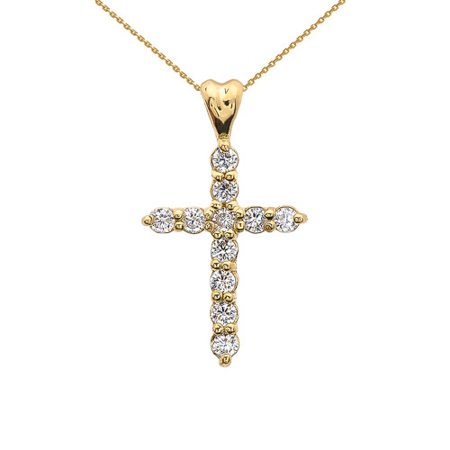 0.5 Carat Diamond Cross Elegant Yellow Gold Pendant Necklace