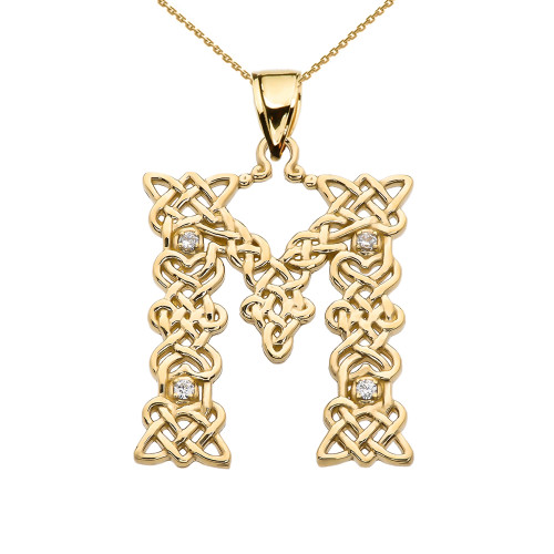 """""""M"""" Initial In Celtic Knot Pattern Yellow Gold Pendant Necklace With Diamond"""