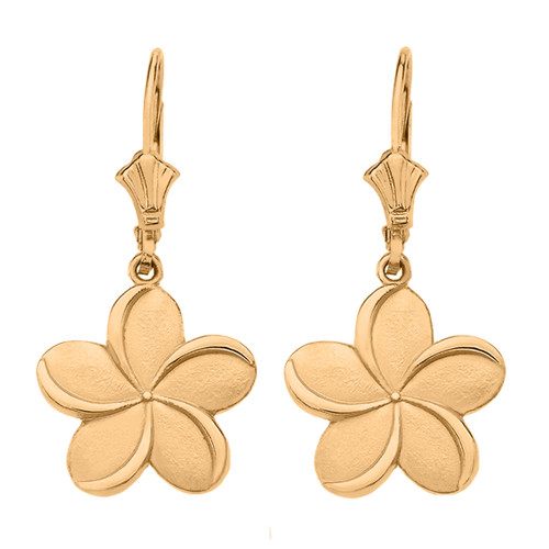 14K  Yellow Gold Hawaiian Plumeria Flower Earrings